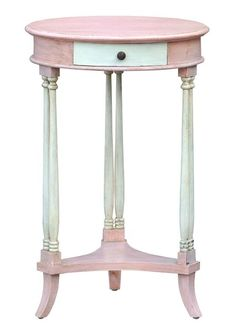 French Blush Pink & White Circular Occasional Table