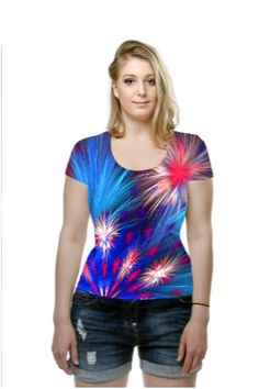 A burst of red, white and blue fractal fireworks lights up this t-shirt.  Original fractal created in Apophysis 7X by Wolfepaw (Peggi Wolfe). OArtTee specializes in creating amazing, vibrant and colorful Wearable Art.