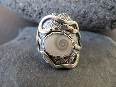 Jewellery we love!  www.silvertownart.com  Ring | Meg Auth. Sterling silver and shell.