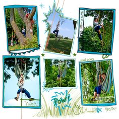 cadre scrap digital 30*30, enfant, grimpe, nature, comics.