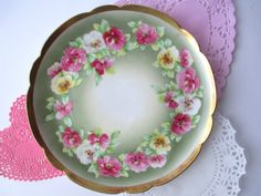 Antique Limoges B Moem Pink Green Floral Dessert by jenscloset