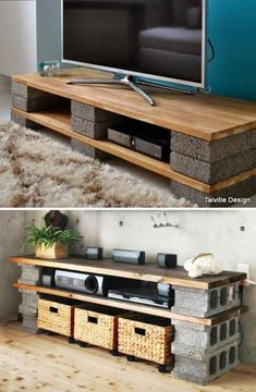 Diy tv stands diy cinder block tv stand console 10 diy concrete block furniture projects home . Diy Pallet Furniture, Diy Furniture Projects, Home Projects, Home Furniture, Rustic Furniture, Cinder Block Furniture, Modern Furniture, Furniture Dolly, Concrete Furniture