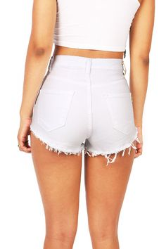 """High waisted color denim shorts with distressing on the front with fraying edges. Traditional 5 pockets zip fly and button closure. Runs small. *Machine Wash Cold *98% Cotton 2% Spandex *11""""/28 cm Top"""