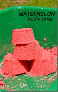 EASY Watermelon Moon Sand Recipe - kids are going to love this stuff. It smells amazing and is loads of fun to play with for toddler, preschool, kindergarten and beyond!