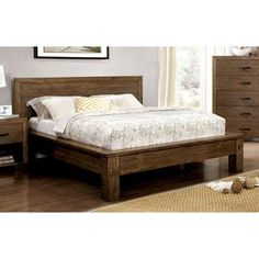 Bring in a fresh look for your bedroom with the help of this rustic inspired platform bed. Plank paneling adorns the headboard while the boxed platform structure adds height for necessary comfort.