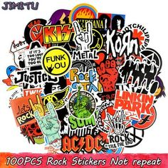 100 PCS Rock Sticker Music Retro Band Graffiti JDM Stickers to DIY Guitar Motorcycle Laptop Luggage Skateboard Car Snowboard. Not be repeated. Jdm Stickers, Band Stickers, Anime Stickers, Laptop Stickers, Funny Decals, Vinyl Decals, Wall Decals, Rockstar Energy Drinks, Retro Band