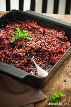 lentils and beetroot casserol - Chocochili Vegetable Recipes, Vegetarian Recipes, Healthy Recipes, Veggie Dinner, Food Articles, Food Challenge, Happy Foods, Food Goals, I Love Food