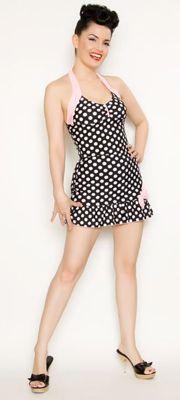 1940's Style Black & White Polka Dot Swimsuit