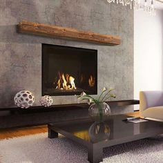 modern fireplace ideas The Smith Rustic Mantel Shelf captures the raw and rustic nature of a beam that has a story. This product is composed of Alder planks with a distressed tex Fireplace Feature Wall, Linear Fireplace, Concrete Fireplace, Home Fireplace, Fireplace Remodel, Living Room With Fireplace, Fireplace Surrounds, Living Room Decor, Tiled Fireplace Wall