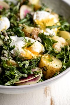 French Potato Salad, French Potatoes, Lemon Green Beans, Green Beans And Potatoes, Best Poached Eggs, Seared Fish, Snacking, Vegetarian Recipes, Cooking Recipes