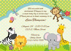 jungle animal themed baby shower invitation or birth announcement -  Night Owl Custom Design, $15.00