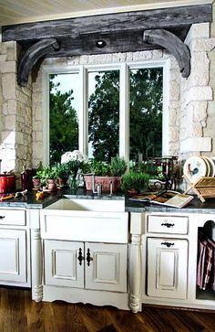 Kitchens with character. Zinc counter tops, breakaway stone window surround, timbered beams and furniture detailed cabinets by Leo Dowell Designs. French Country Kitchens, French Country House, Country Homes, French Decor, French Country Decorating, Zinc Countertops, European Style Homes, Timber Beams, Old World Style