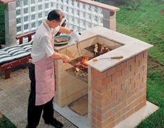 4 ways to build a bbq pit wikihow diy brick barbeque all about built in barbecue pits this bricks should you use for a bbq Brick Grill, Grill Area, Bbq Grill, Outdoor Oven, Backyard Bbq, Outdoor Kitchen Design, Outdoor Furniture Sets, Picnic Recipes, Picnic Ideas