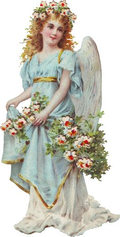 Angel of God,  wreaths and laurel. How beautiful you are, how peaceful. I know you are a tender spirit, Resting in blue and floral. Rebecca Jones