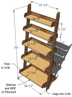 Ana White Build a Leaning Wall Shelf Free and Easy DIY Project and Furniture Plans Leaning Wall Shelf, Leaning Bookshelf, Bookshelf Plans, Wall Shelves, Shelving, Ladder Shelves, Diy Ladder, Leaning Desk, Ladder Storage