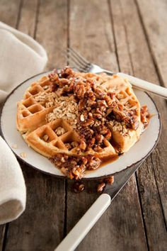 Paula Deen Corrie's Granola Waffles with Buttered Pecan Syrup