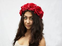 Rose Flower Crown - Red Rose Headband, Red Rose Floral Crown, Summer Fashion, Frida Kahlo, Rose Crown. Dia De Los Muertos, Day of the Dead