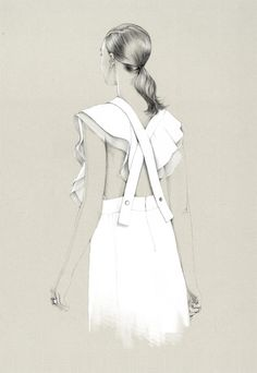 Fashion sketches by Caroline Andrieu - This illustration is like going back in time. At least in my case the beginning of the 20th century appears in my head, school uniforms or uniforms for the boarding schools. Oppositions are combined on this illustration. We can see connection of soft and rough lines that create interesting effect. But openness of the dress brings us back to the present time. Old and new, long gone and modern.