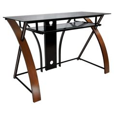 BellO Curved Glass Top Computer Desk - Vibrant Espresso - Forget those stuffy, dowdy all-wood desks – the Twin Stars Curved Glass Top Computer Desk – Vibrant Espresso combines a marvelous medley...