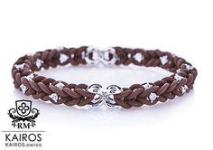 Chocolat Swarovski bracelet with 40 white Swarovski Zirkonia and 2 silver elements. Designer fashion bracelet by KAIROS. Swarovski Bracelet, Fashion Bracelets, Silver, Leather, Fashion Design, Jewelry, Armband, Jewellery Making, Jewerly