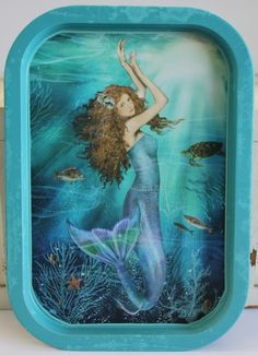Magic Mermaid metal food-safe tray adds a touch of elegance to your nautical or coastal party. Nautical Food, Nautical Party, Mermaid Sign, Mermaid Quotes, Shabby Chic Campers, Welcome Wood Sign, Mermaid Bedroom, Blue Magic, Real Mermaids