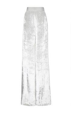 Silk Velvet Wide Leg Trouser In Honeydew White by DELPOZO for Preorder on Moda Operandi