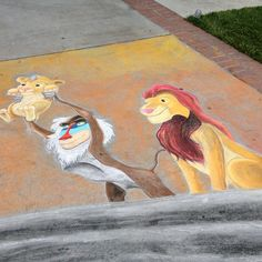 How much do you love the Lion King chalk art at SCU? #Disney #awesome