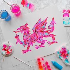 A trip home to Wales is the best excuse to paint a Welsh dragon.⠀⠀⠀⠀⠀⠀⠀⠀⠀ Available as a print in 2 sizes on my etsy store (link in profile).