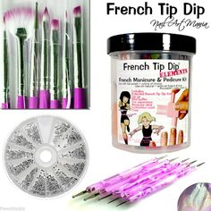 NEW! FREE SHIPPING: French Tip Dip French Manicure + NAIL ART BRUSHES + DOTTING TOOLS + RHINESTONES