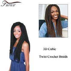Free Shipping 3D Cubic Twist Braids Ombre Top Quality Synthetic Crochet Braids Kinky Curly Black Senegalese Hair Extensions