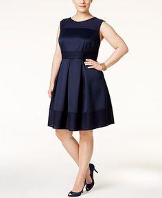 Sandra Darren Plus Size Texture Stripe Fit & Flare Dress | macys.com