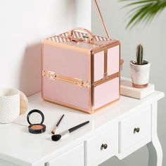 Mini Rose Gold Professional Makeup Train Case