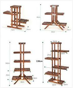 8 Tier Wood Shelf Plant Stand Bathroom Rack Garden Planter Pot Holder Carbonized #Handmade