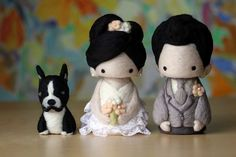 wedding cake topper-cutie couple with dog 20120714 01