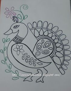 New Ideas For Embroidery Designs Art Drawings Embroidery Patterns Free, Hand Embroidery Designs, Embroidery Stitches, Madhubani Art, Madhubani Painting, Stencil Painting, Fabric Painting, Kalamkari Painting, Peacock Art