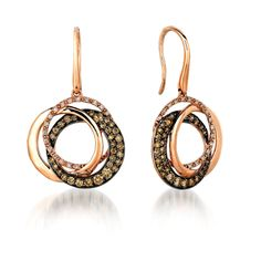 Whimscial and Sparkling Le Vian Triple Circle Earrings with Chocolate and White Diamonds set in Strawberry Gold!