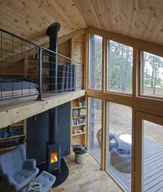 Tiny House Cabin, Tiny House Living, Cabin Homes, Tiny Cabins, Modern Cabins, Small Lake Cabins, Rustic Modern Cabin, Modern Cabin Interior, Small Modern Cabin
