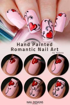 Hand Painted Romantic Nail Art ❤️ Only fresh and trendy, not to mention incredibly easy, tutorials of valentines nails are gathered here. All you need to do is to pick your favorite one! ❤️ See more: [post_link] Source by naildesignsjournal Heart Nail Art, Heart Nails, Nail Art Coeur, Love Nails, Pretty Nails, Romantic Nails, Valentine's Day Nail Designs, Hand Designs, Valentine Nail Art