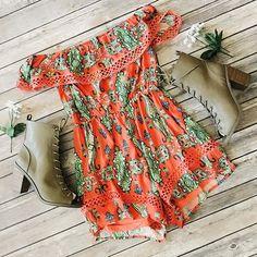 Link in bio to shop! ✨ Lynn off the shoulder print romper  shopdevi.com • #shopdevi