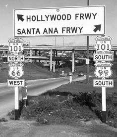 In 1953, US-66, US-99, and US-101 met at the Four-Level Interchange. Of these, only the 101 remains an active highway route. Courtesy of the Automobile Club of Southern California Archives.