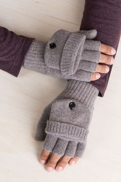 e356d881ad4 Richmond Knitted Merino Wool Fingerless Gloves with Mitten Flap