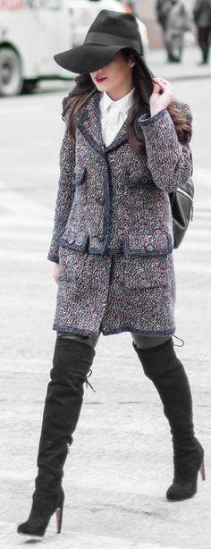 Chanel Blue Tweed Twin Set