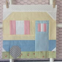 """Here it is - the """"Happy Campers"""" block for all of you girls who love camping like we do ;)! This is a really fun block to make – I loved picking out fabrics for the grass and flowers (and curtains. too). In case you're wondering, my husband vetoed the..."""