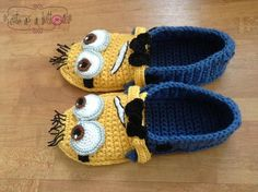 Cute as a button Crochet Minion Slippers via Craftsy