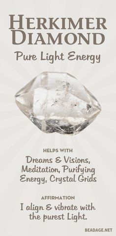 Herkimer Diamonds are a special form of quartz that are shaped like diamonds. They enhance dreams & visions, and are ideal for use in meditation, crystal grids, and body layouts. Crystal Magic, Crystal Healing Stones, Crystal Grid, Crystal Shapes, Crystals Minerals, Crystals And Gemstones, Stones And Crystals, Gem Stones, Healing Gemstones