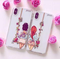 Capinhas para celular bff - floral (direita e esquerda) zdjęcia najlepszego