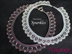 Tutorial for beadwoven necklace 'Sparkles' - PDF beading pattern - DIY