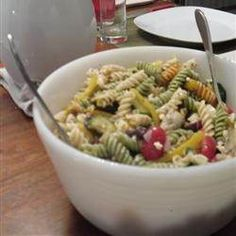 zucchini, bell peppers, cherry tomatoes, & feta cheese pasta salad