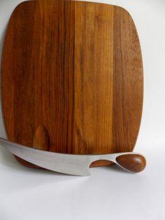 DANSK Cheese Board with knife designed by Vivianna Torun,made in Denmark, MidCenturyFLA