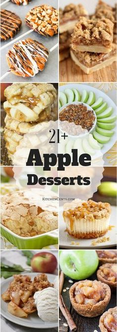 Fall is right around the corner which means cooler weather, leaves changing colors, and APPLE season. Check out 21 of the best apple desserts around. They're perfect for back-to-school and Fall time! Brownie Desserts, Oreo Dessert, Mini Desserts, Best Apple Desserts, Apple Deserts, Apple Recipes Easy, Apple Dessert Recipes, Fall Desserts, Fruit Recipes